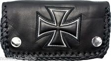 Biker Croce WALLET PORTAFOGLIO CHAIN 3d CATENA NAKED LEATHER Rockabilly Pelle OI