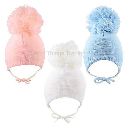 Baby Hat Large Pom Pom Bobble Chin Tie Winter Knitted Warm Boy Girl 6-12 Months