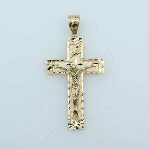 14K-Solid-Real-Yellow-Gold-Diamond-Cut-Jesus-INRI-Cross-Crucifix-Pendant-for-Men