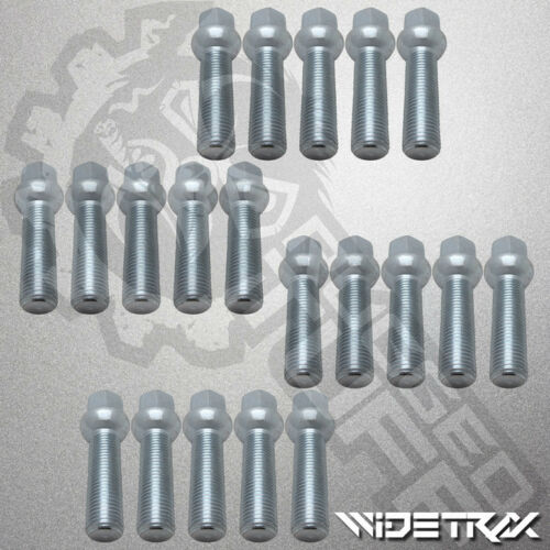 20pc 14x1.5 Zinc Wheel Lug 17mm Hex Bolts Ball 45mm Shank For Mercedes Audi VW