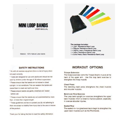Free Head Band Resistance Bands Loop Mini Natural Latex Exercise Yoga Set Of 5
