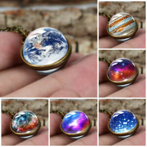 Necklace-Handmade-Glass-Ball-Solar-System-Galaxy-Pendant-Moon-Space-Universe