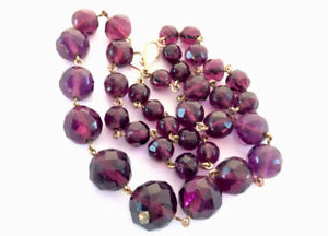 """Vintage Gold Chain & purple Faceted Crystal Glass Bead Necklace 17.5"""" GIFT BOXED"""