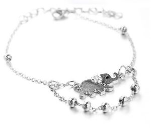 Image Is Loading Silver Elephant Ankle Chain Anklet Bracelet Foot Sandal