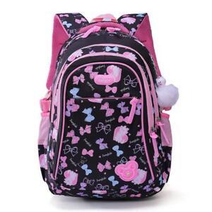 649179a4070a Girls School Backpack Cartoon Print Blue Pink School Bag Padded Back ...