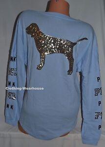 47dcff3c05 Victoria s Secret Pink Morning Sky Blue Gold Bling Dog Logo Varsity ...