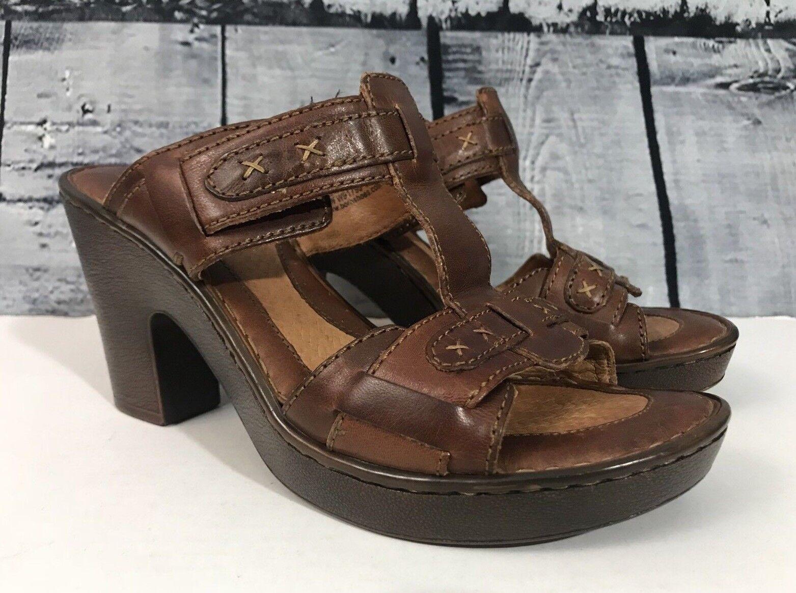 Born Beam Carmel Carmel Carmel shoes 8 Chunky Heel Slide Sandals Brown Leather T Strap NWOT bb6962