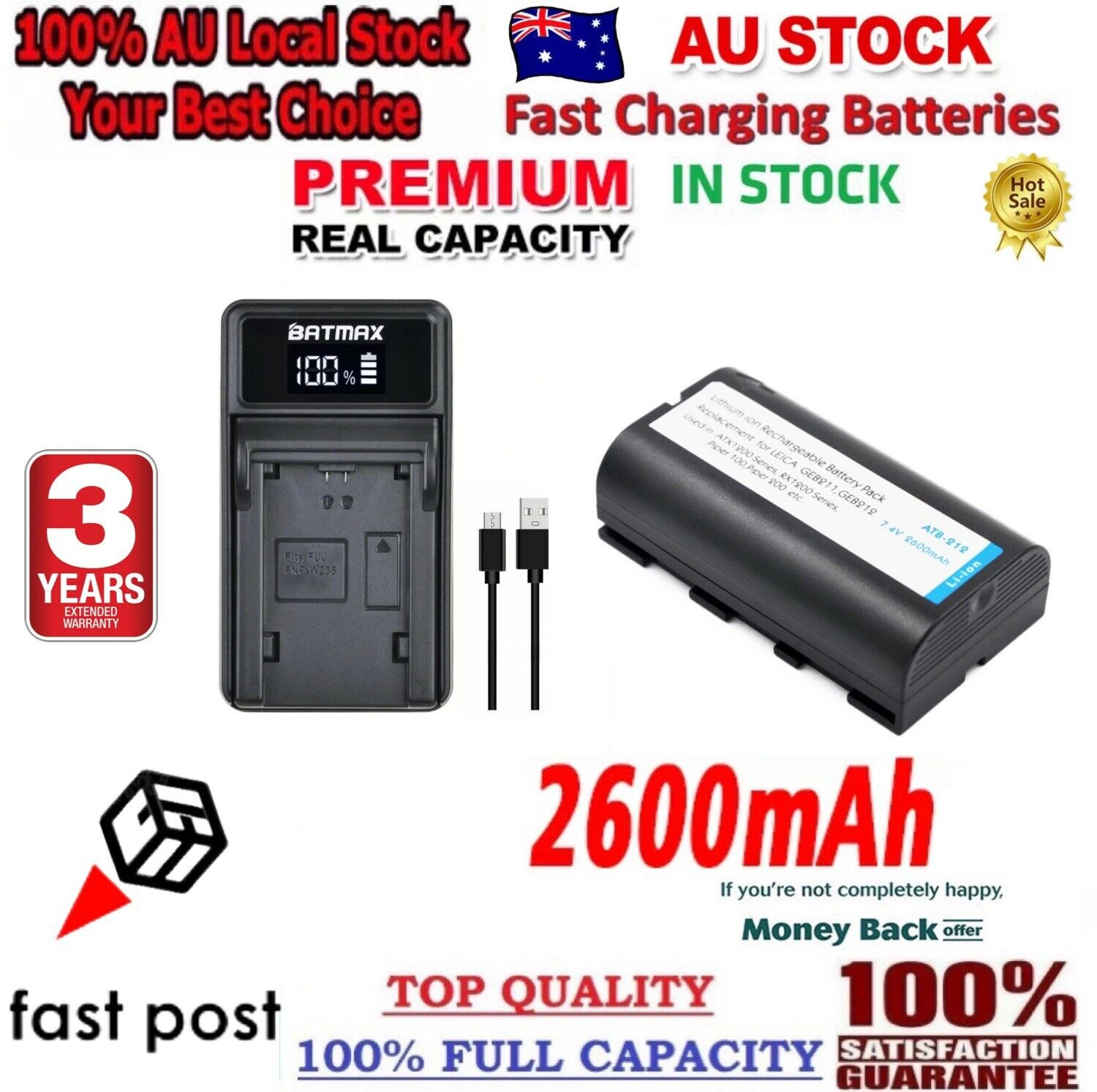 *2021* 1x Battery +Rapid Charger For GKL211 Leica GEB90/221/211/212/241