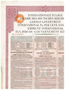 German Government Int. Loan (Young-Loan) 1930, 1000 FF, dutch tax-stamp,