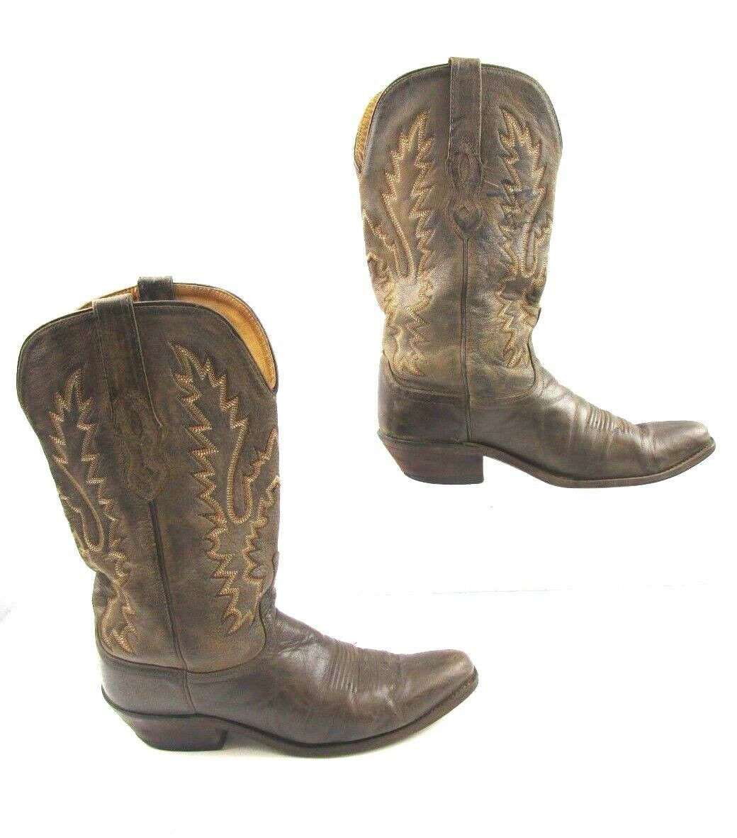 Ladies Old West Brown Leather Cowgirl Boots Size   9