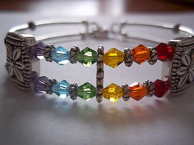 "Memory Wire RAINBOW Wrap CRYSTAL Bead ""GAY PRIDE"" Lesbian Wristband Bracelet R01"