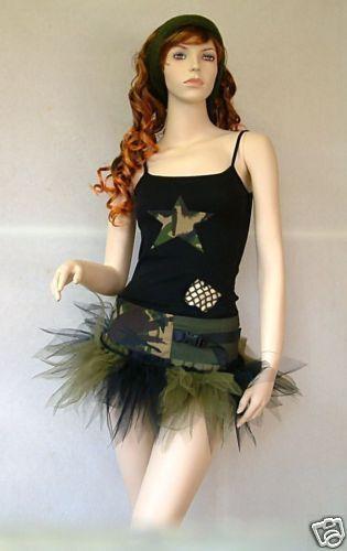 ARMY OUTFIT COMBAT CAMO TUTU FANCY DRESS DANCE COSTUME