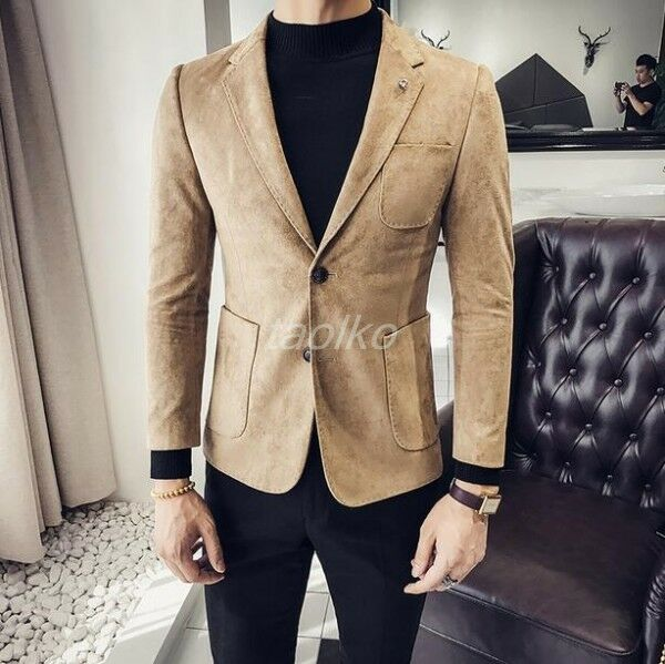 Mens Faux Suede Leather Lapel Collar Business Formal Dress Suit Blazers Coats sz