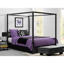 DHP Bed Modern Canopy Metal Frame Bedroom Furniture Queen Size Gunmetal Grey