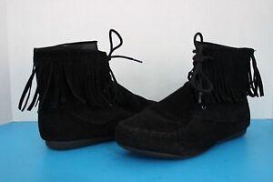 Moccasin Black TanToddler /& Youth size Kids Girl Suede Fringe Boot candice48k