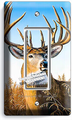 WHITETAIL DEER BUCK 3 GANG GFCI LIGHT SWITCH WALL PLATE HUNTING CABIN ROOM DECOR