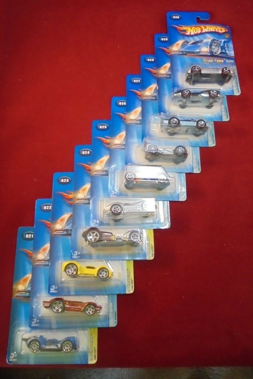 Lot of 10,Mattel Hot Wheels 2005 First Editions Drop Tops 1 64 scale  MIB