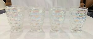 Set-Of-Four-Vintage-Federal-Glass-Clear-Iridescent-Tumblers-4-034-X-2-3-4-034