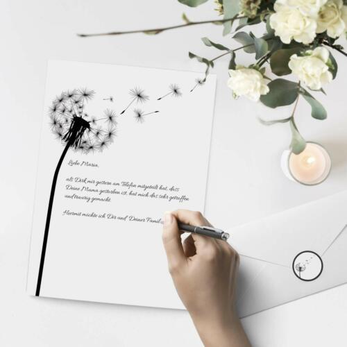 10 Blatt Trauerpapier im Set A4 Briefbögen Etiketten Umschläge Motiv Pusteblume