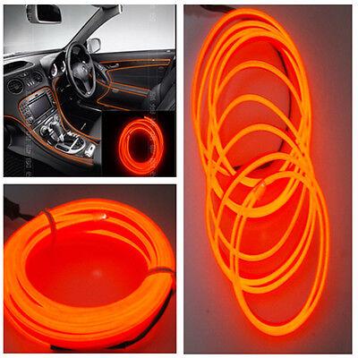 2M Car Decorative LED Wire Auto Interior Atmosphere Cold Light Orange Lamp Strip
