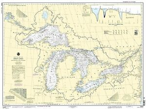 NOAA Chart Great Lakes, Lake Champlain to Lake of the Woods 27th Edition 14500