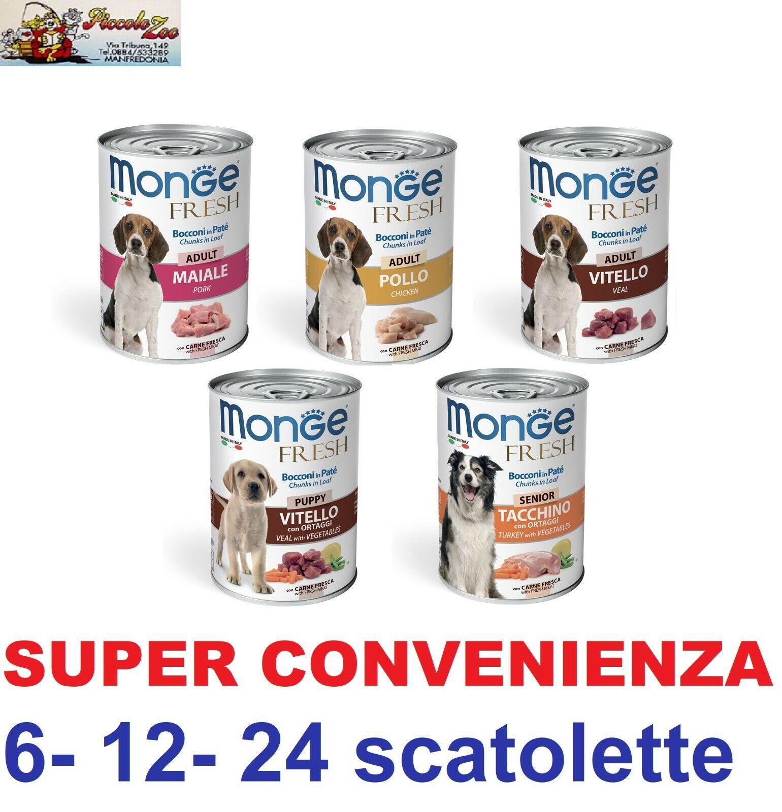 Monge Monoproteico scatolette paté da 400gr cibo umido per cani 6-12-24 pezzi