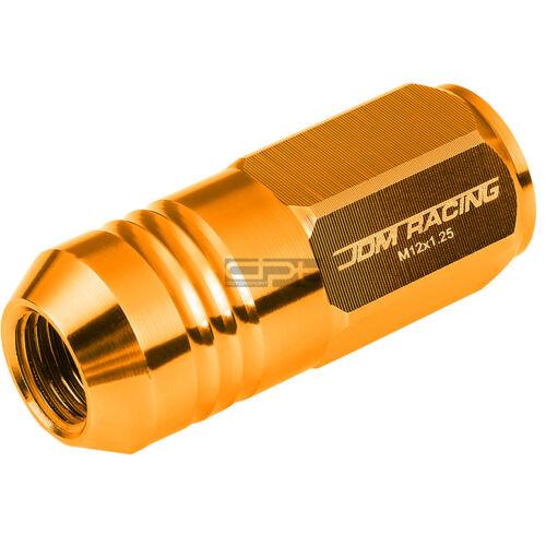 20 PC CLOSE END M12X1.25 50MM TALL 20MM OD ORANGE ALUMINUM JDM LUG NUTS+ADAPTER