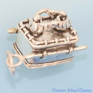 Tank Military Army Vehicle 3D .925 Solid Sterling Silver Charm MADE IN USA