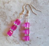 Hot Pink Crystal 6mm Faceted Cube Handmade Beaded Earrings