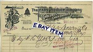 1917 Rare Billhead TEXARKANA ARKANSAS The Texas Produce Company ASHDOWN De Queen