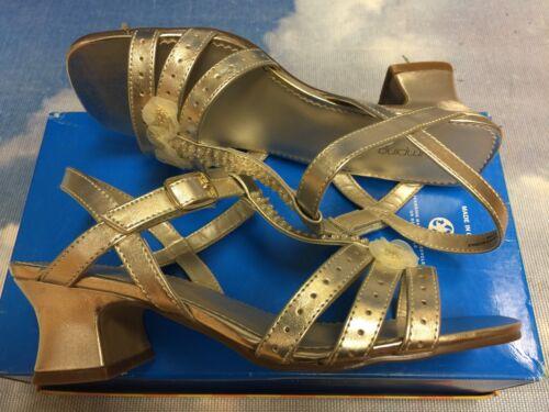 Jumping Jacks Hook /& Loop Gold Open Toe Heel Dressy Sandal Kid Size 11-5//Women 7