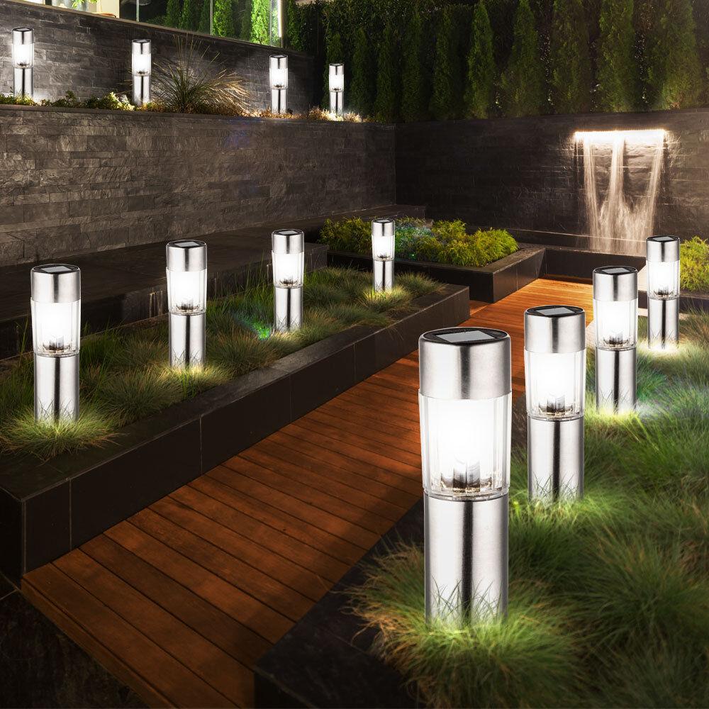 12 LED lampes solaires extérieures plataé lumières métalliques sans enfichables