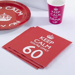 Image is loading 16-x-Keep-Calm-Party-Age-60-Napkins- & 16 x Keep Calm Party Age 60 Napkins 60th Birthday Napkins - Red FREE ...