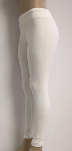 Ladies Cotton Spandex Rib Knit Legging Pant Sizes S-M-L-XL Color White NWT