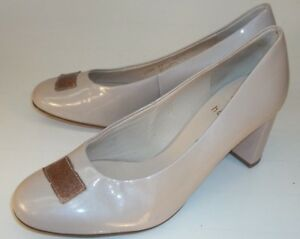 Womens Shoes UK 3 Beige Patent Leather