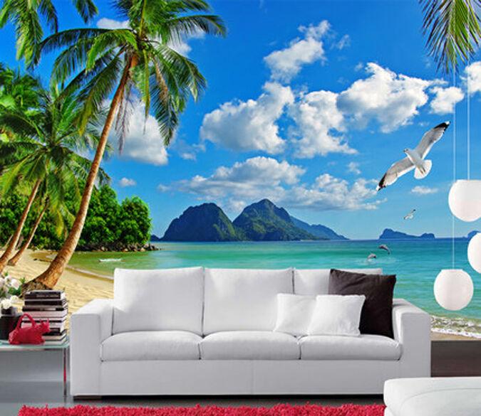 3D Seagulls, Kokospalmen 3 Fototapeten Wandbild Fototapete BildTapete Familie DE
