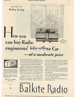 Collectibles Special Section 1928 Balkite Radio Fansteel Berkey & Gay Vintage Print Ad 100% Original Advertising-print