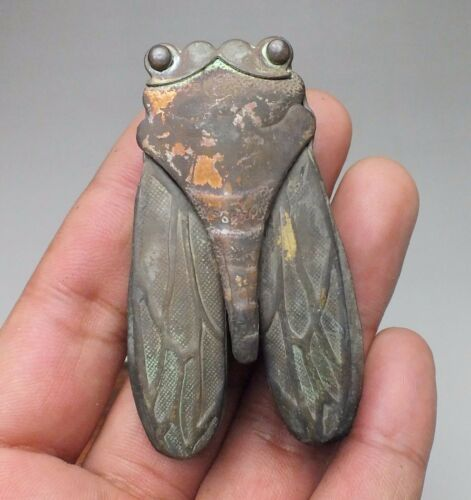 SUPERB COLLECTIBLES BEAUTIFUL BRONZE CARVING CICADA POETRY SECRET BOX  #21