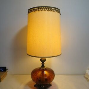 Details About Vintage Hollywood Regency Amber Glass Large Table Lamp Diffuser Base Marked Gim