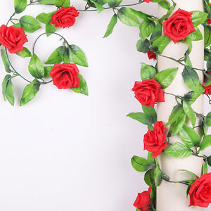 Artificial flowers red rose ivy vine hangings garlands home wedding image is loading artificial flowers red rose ivy vine hangings garlands junglespirit Images
