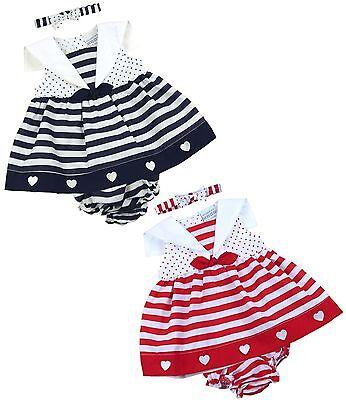 BabyPrem Baby Kleider Mädchen Rosa Weiß 3 Stück Set Kleid Stirnband Hose 6-18m