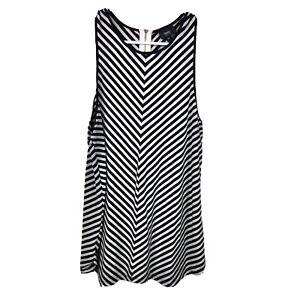 Mossimo Women's Medium Herringbone Striped Black White Sleeveless Blouse