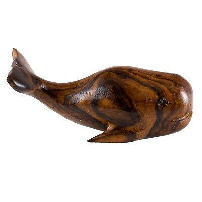 """Hand Carved Wood Wooden Ironwood Orca Whale Figurine 3.25/"""" Long Made In USA"""