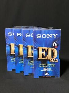 Sony ED MAX T-120 6 Hour Blank VHS Tapes Video Cassette (4pcs) NEW