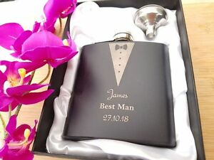 Personalised-Engraved-6oz-Hip-Flask-Best-Man-Wedding-Usher-Gift-Groom-Groomsman