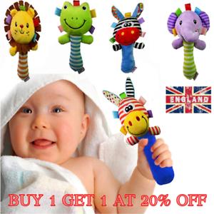Boys Girls Newborn Baby Soft Sound Animal Plush Handbells Squeeze Rattle Toy