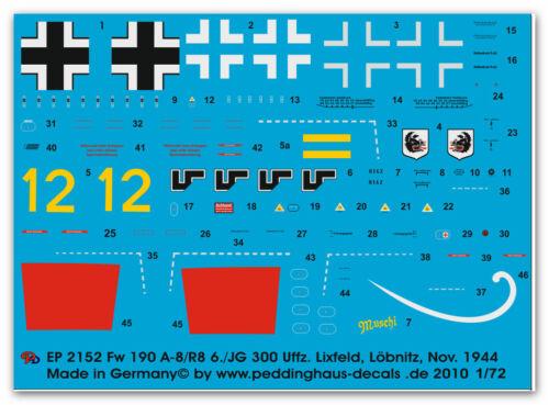1//72 Decals für Fw 190 A8//R8 6.JG 300 Uffz Luxfeld 2152
