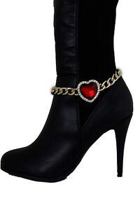Women-Elegant-Jewelry-Boot-Gold-Chain-Bracelet-Shoe-Bling-Anklet-Red-Heart-Charm