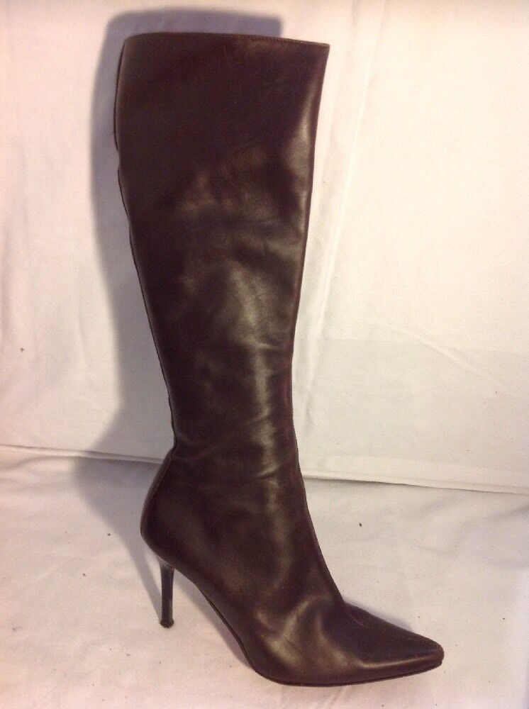 Patrick Cox Brown Knee High Leather Boots Size 38.5