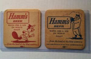 Set of 2 double sided Hamms beer WGN-TV Chicago Cubs WHITE SOX Coasters 1960s